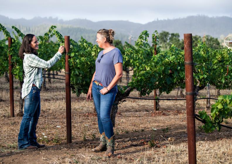 Markham winemaker Kim Nicholls and Adrienne Uboldi in Rockerbox vineyard