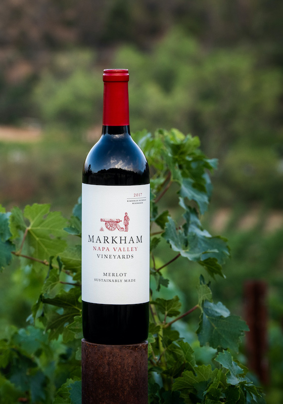 bottle of Markham Merlot at Rocker Box vineyard